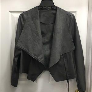 Faux Leather Drape Front Jacket